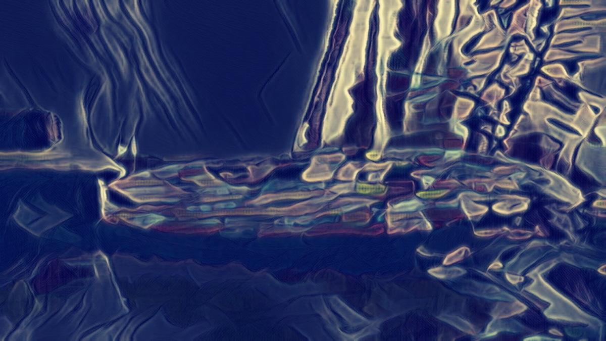 Abstract digital art. An oblong shape on a dark blue background.
