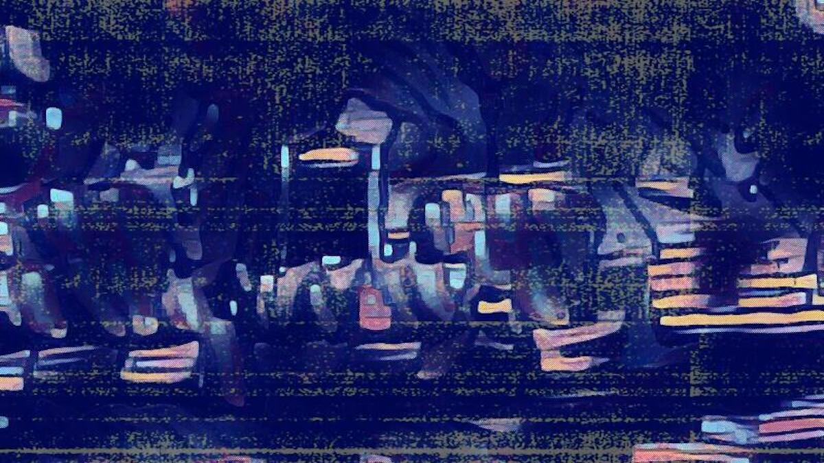 Abstract image. Light streaks on dark background.