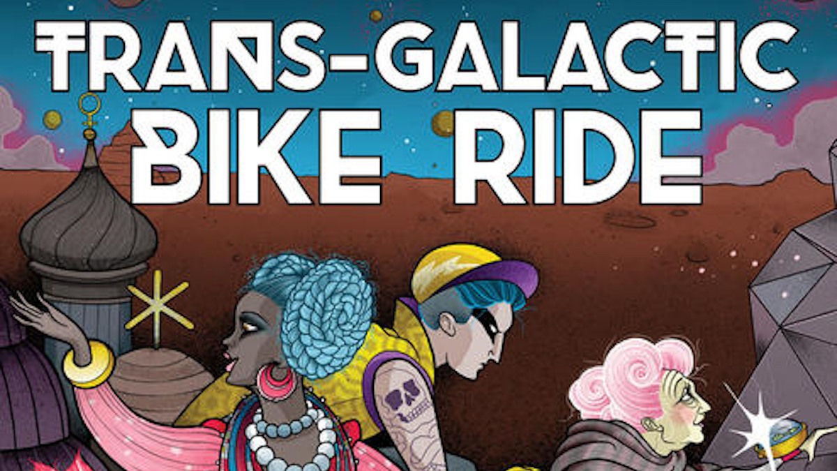 Detail of book cover: TRANS-GALACTIC BIKE RIDE