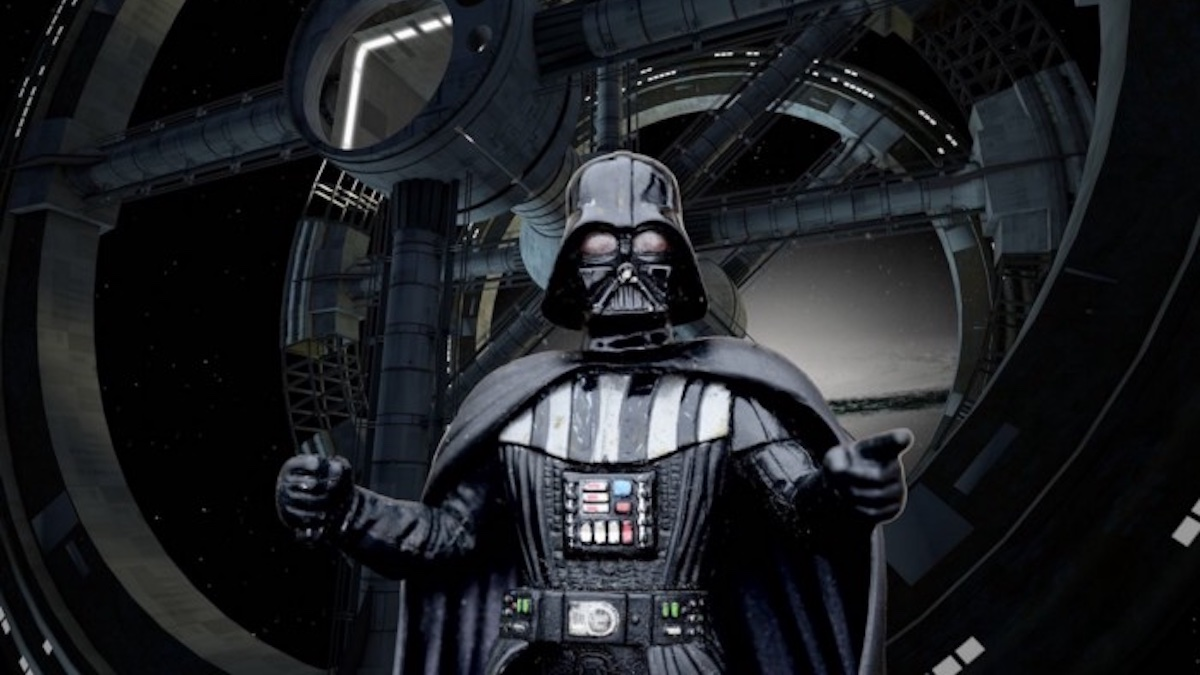 Darth Vader with arms raised