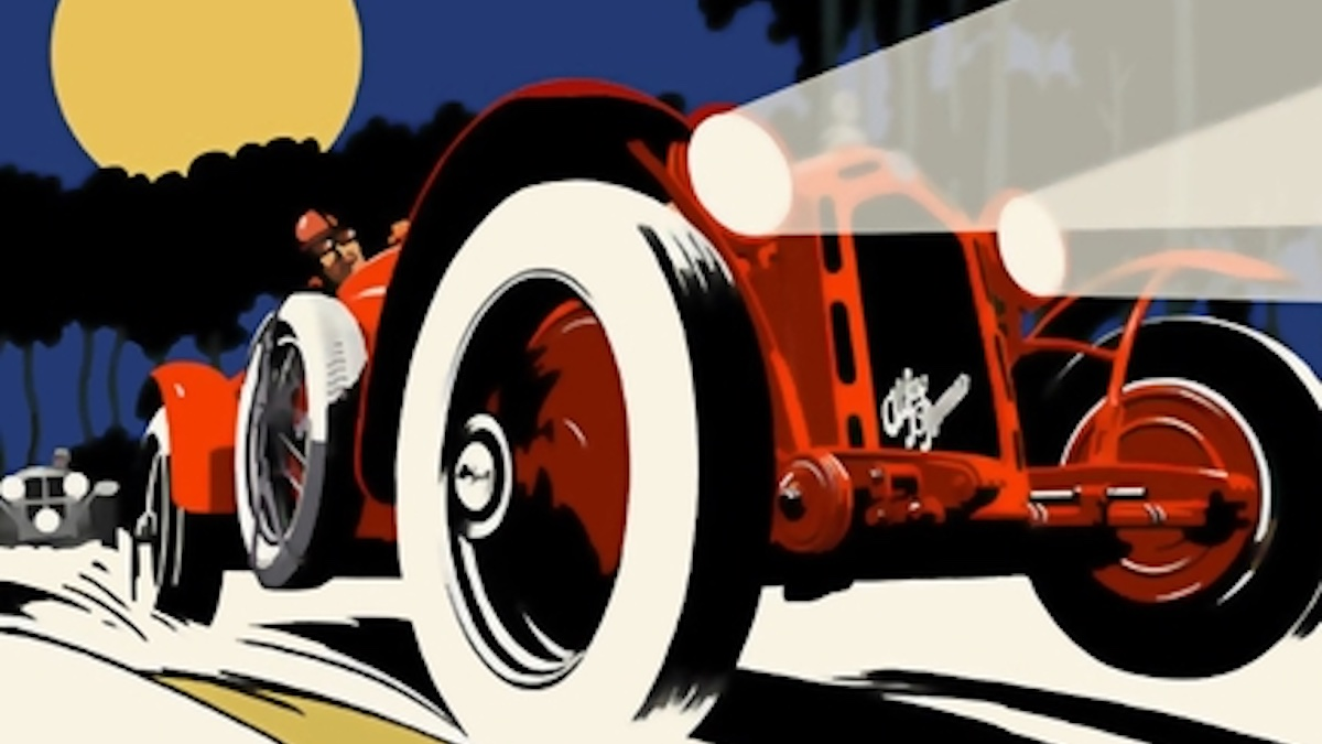 A red car, 1920s-style. Detail from the book cover of THE PURSUED AND THE PURSUING by AJ Odasso.